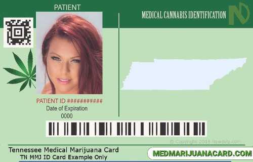 TN medical cannabis card example.